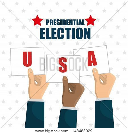 hand raised election presidential usa graphic vector illustration eps 10