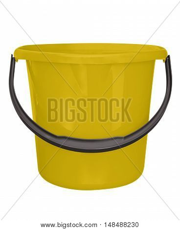Yellow plastic bucket isolated on white background with Clipping path