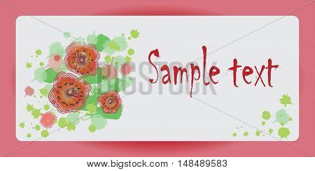 The design of the poster with scarlet poppies. Vector image for presentations, banners.