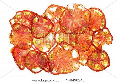 Sun-dried (dried) tomatoes closeup on a white background