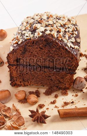 Gingerbread Or Dark Cake With Chocolate And Cocoa, Delicious Dessert