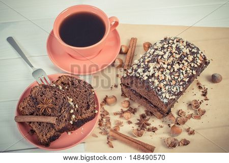 Vintage Photo, Dark Cake With Chocolate, Cocoa And Plum Jam, Cup Of Coffee, Delicious Dessert