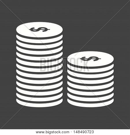 Coin, stack, cash icon vector image. Can also be used for currency. Suitable for use on web apps, mobile apps and print media.