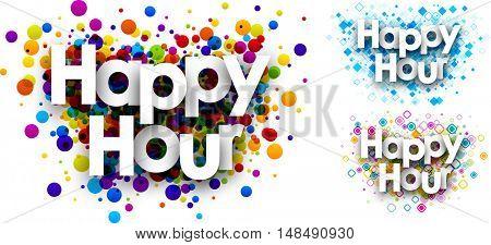 Happy hour colour backgrounds set. Vector paper illustration.