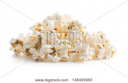 Tasty salted popcorn isolated on white background.