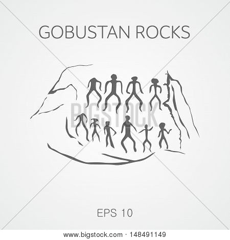 Rock Art Cultural Landscape Azerbaijan. Gobustan rocks.