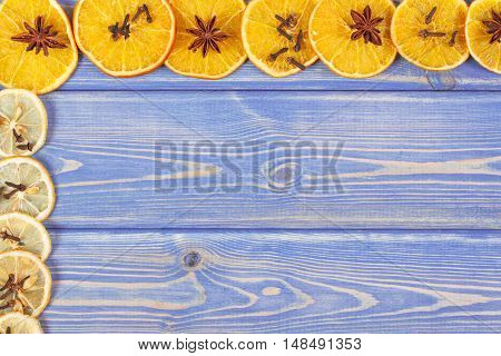 Dried Orange And Lemon With Spices On Wooden Boards, Copy Space For Text