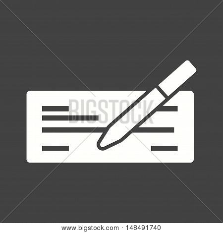 Cheque, writing, finance icon vector image. Can also be used for currency. Suitable for web apps, mobile apps and print media.
