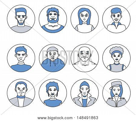 Avatars, characters people, men and women of different professions, social networks and applications, flat line icons