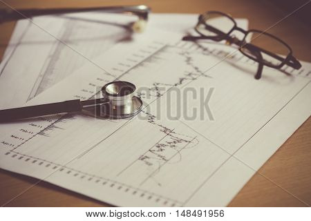 Health of stock graph / concept : analysis the value investment of the stock market