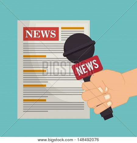 cartoon hand microphone news paper graphic vector illustration eps 10