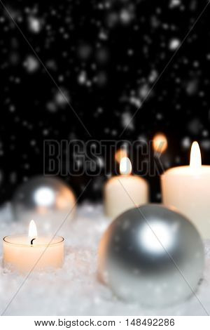 Silver Christmas Balls And Candles In The Snow, Snowing Background