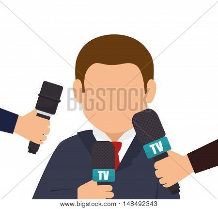 character interview news microphone graphic vector illustration eps 10