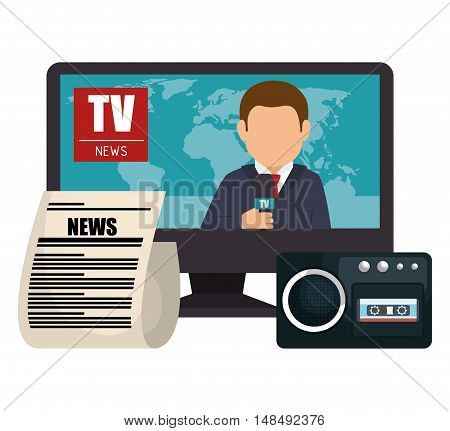 set news tv microphone paper graphic isolated vector illustration eps 10