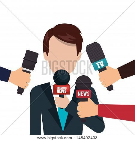 character microphone interview graphic vector illustration eps 10