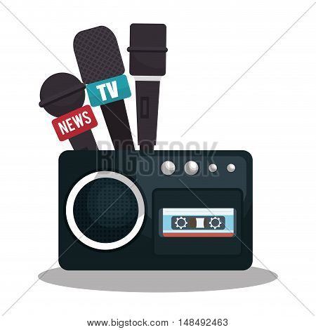 tape recorder cassette news microphone graphic vector illustration eps 10