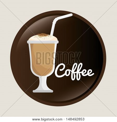 cup glass coffee with straw graphic vector illustration eps 10