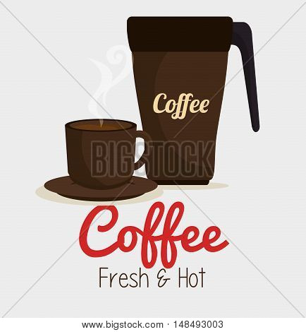 cup coffee and plate graphic vector illustration eps 10