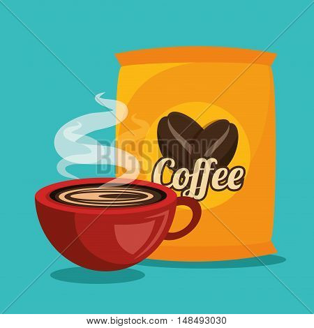 cup and bag coffee graphic vector illustration eps 10