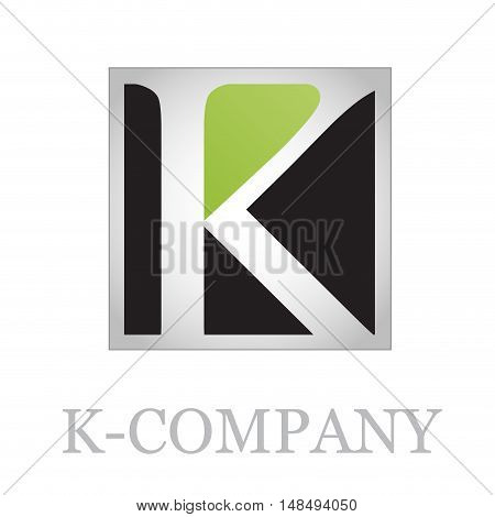 Vector button initial letter K on black background