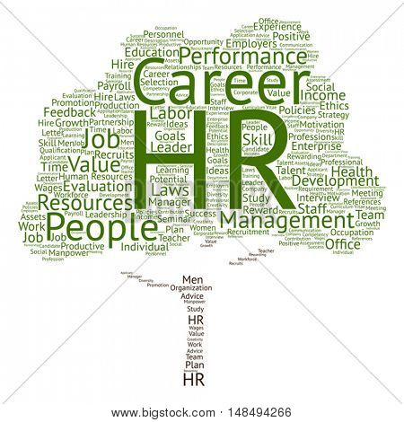 Vector concept conceptual hr or human resources management abstract tree word cloud isolated on background metaphor to workplace, development, career, success, hiring, competence, goal, corporate job