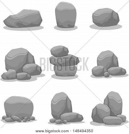 Rock element of vector art illustration collection