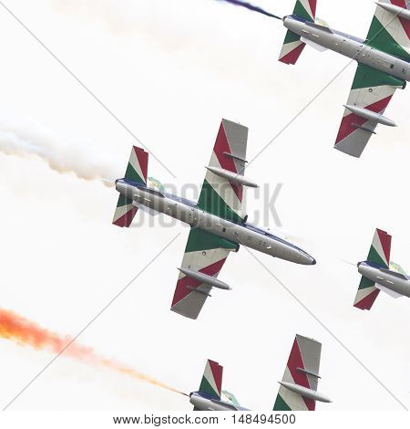 Leeuwarden, The Netherlands-june 11, 2016: Italian Aerobatic Team Frecce Tricolori (tricolor Arrows)