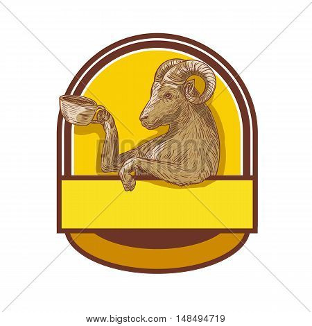 Drawing sketch style illustration of a ram goat drinking coffee viewed from the side set inside crest.