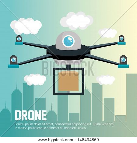 delivery drone remote graphic vector illustration eps10