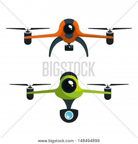 drone two with camera graphic isolated vector illustration eps 10