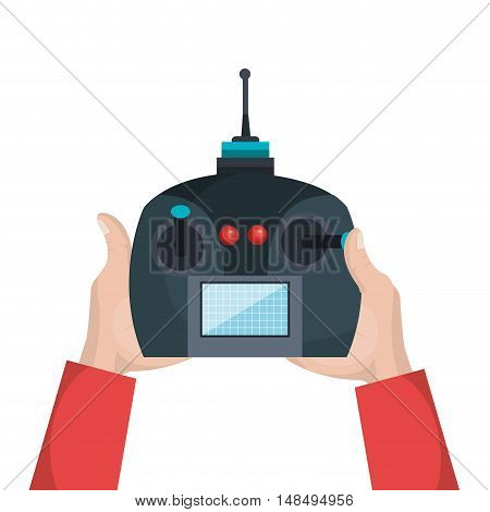 cartoon hands with control drone isolated graphic vector illustration