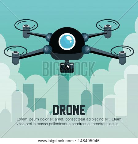 drone flying city graphic vector illustration eps 10