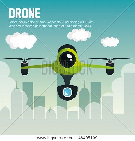 drone with camera fly city graphic vector illustration eps 10