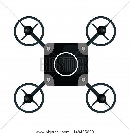 drone quadrocopter black isolated vector illustration eps 10