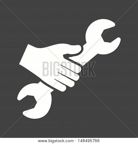 Wrench, spanner, adjustable icon vector image. Can also be used for hand actions. Suitable for use on web apps, mobile apps and print media.