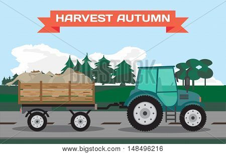 Tractor-trailer carrying potatoes in the countryside. Cartoon flat vector illustration