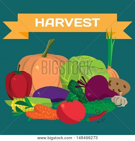Fall harvest background with space for text. Autumn food festival. Pile of fresh vegetables. Vector flat cartoon illustration