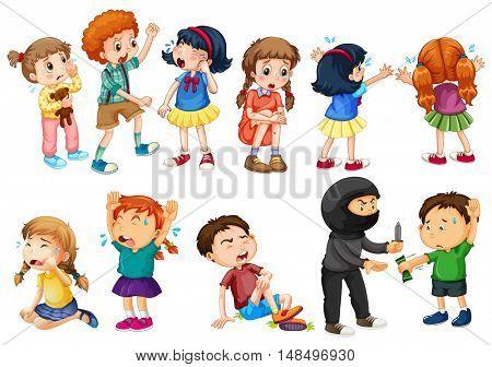 Kids at different crime scenes illustration
