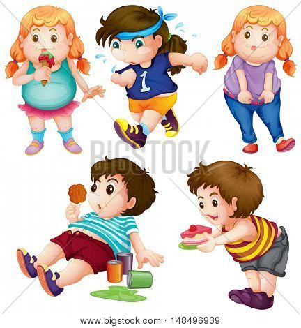Fat people eating and exercising illustration
