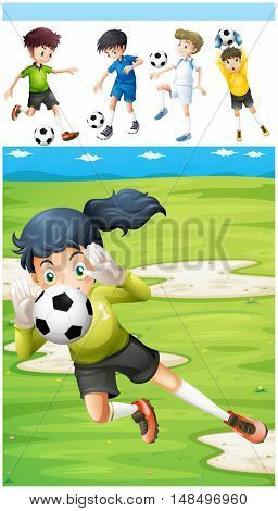 Kids playing soccer and other sports