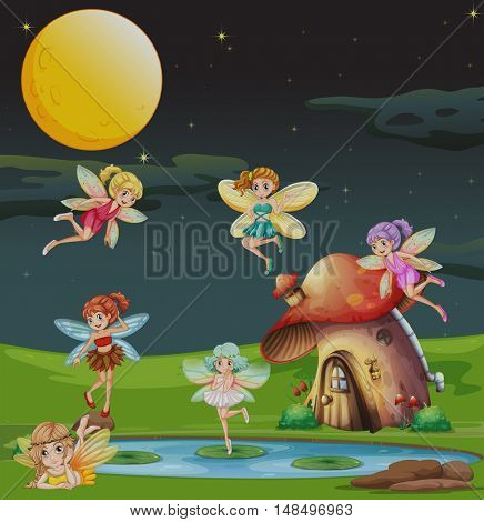 Fairies flying over the house at night illustration