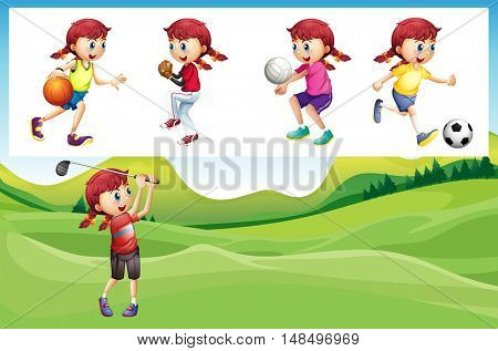 Girl playing golf and other sports illustration