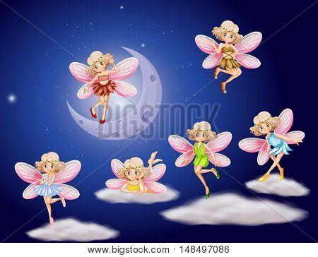 Fairies flying in the sky at night illustration