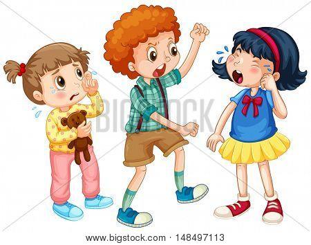 Boy bullying other kids illustration