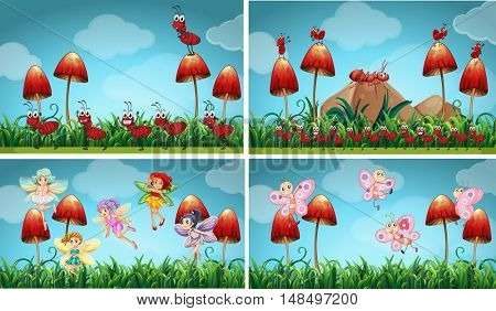 Different insects in the garden illustration