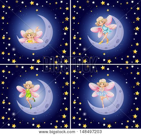 Scenes with fairy and stars illustration