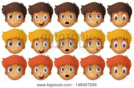 Kids facial expression on white
