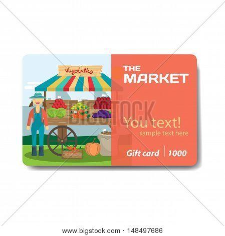 Vegetable shop. Sale discount gift card. Branding design for vegetable market
