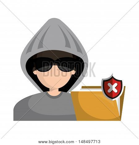 hacked warning file graphic isolated vector illustration eps 10