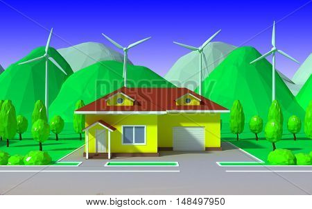 ecological housing with wind power plant and mountains